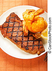Steak and Shrimp - Surf and Turf meal of juicy sirlon steak...