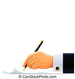 writening hand with pen vector illustration isolated on...