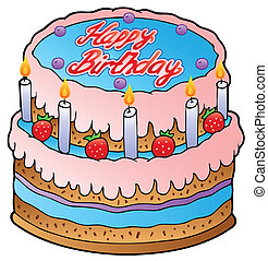 Birthday cake with strawberries - vector illustration