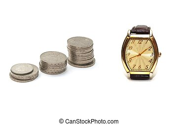 Time is money   - photo of the money on white background