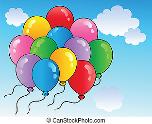 Blue sky with cartoon balloons 2