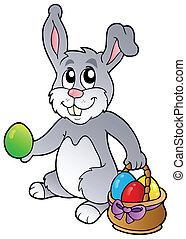Bunny and Easter eggs - vector illustration.