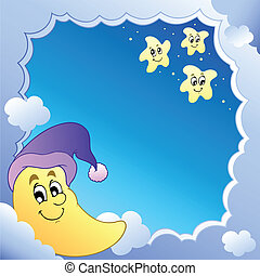 Cloudy frame with Moon 1 - vector illustration