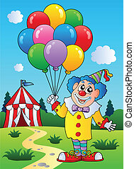 Clown with balloons near tent - vector illustration.