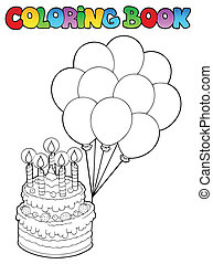 Coloring book with birthday cake 1 - vector illustration.