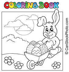 Coloring book with bunny and barrow - vector illustration