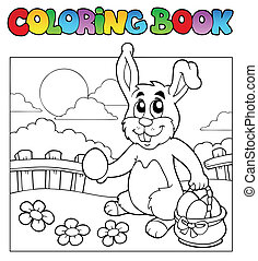 Coloring book with bunny and eggs - vector illustration.