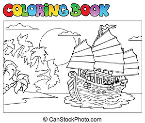 Coloring book with Chinese ship - vector illustration