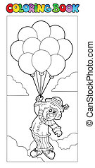 Coloring book with flying clown - vector illustration