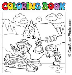 Coloring book with scout in boat - vector illustration