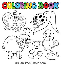 Coloring book with spring animals - vector illustration