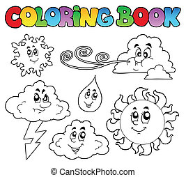 Coloring book with weather images - vector illustration.
