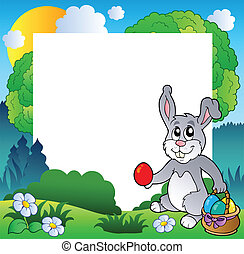 Easter frame with bunny and eggs