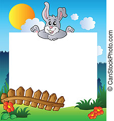 Easter frame with lurking bunny - vector illustration.