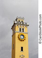 City clock tower against cloudy sky Khmelnytsky, Ukraine