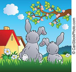 Meadow with two rabbits - vector illustration.