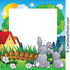 Spring frame with two rabbits - vector illustration