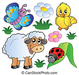 Various happy spring animals - vector illustration.
