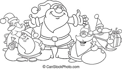santa clauses group for coloring - illustration of five...