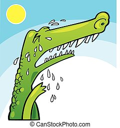Crying crocodile - Illustration of funny crocodile crying