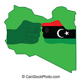 Struggle in Libya - Two fists against a card of Libya...