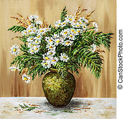 Camomiles in a clay pot - Bouquet of camomiles in a clay...