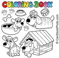 Coloring book with cute dogs - vector illustration