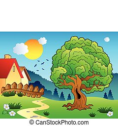Meadow with big leafy tree - vector illustration.