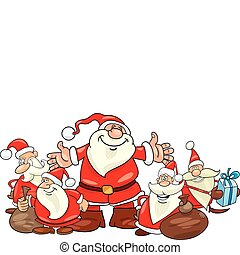 santa clauses group - illustration of five santa clauses...