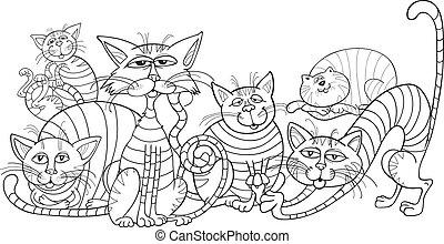 Color, gatos, grupo, colorido, libro