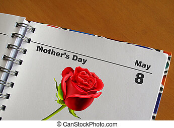 Mother\'s day in a diary May 8 - Mother\'s day date in a...