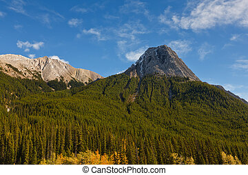 Mountain peak view from Maligne Lake Road, Jasper National...