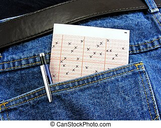 loteria, bilhete, costas, bolso