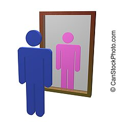 Different gender - Illustration of male looking into mirror...
