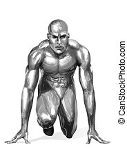 Starting Point - Illustration of a chrome man getting ready...