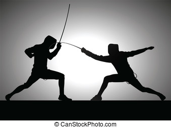 Duel - Silhouette illustration of two fencers