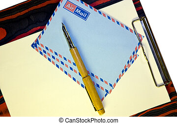 airmail post - clipboard with letter paper and airmail...
