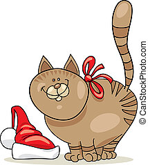Christmas cat - Cartoon illustration of christmas cat