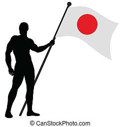 Flag Bearer_Japan - Vector illustration of a flag bearer