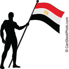 Flag Bearer_Egypt - Vector illustration of a flag bearer