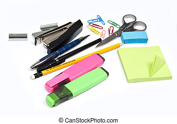 Office supplies - Isolated office supplies on white