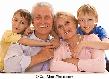 portrait of a happy family playing