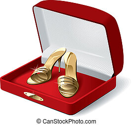 Woman shoes - Gold woman shoes in the red present box Vector...