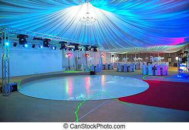 Stage - Ballroom stage, red carpet.