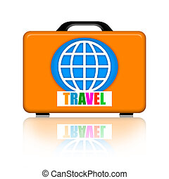 Suitcase for travel - Orange suitcase for travel with earth...