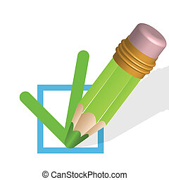 pencil - illustration, green pencil and green mark in blue...