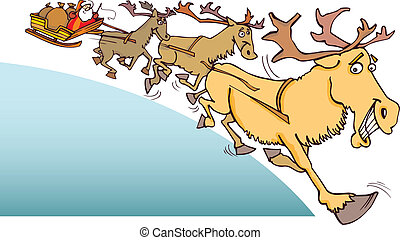 Santa Claus and reindeer - Illustration of Santa Claus and...