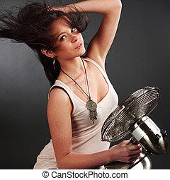 girl with fan studio portrait