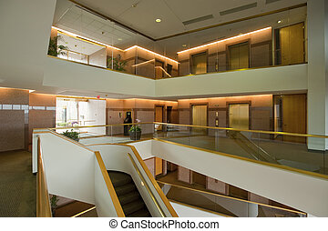 Office building lobby - Lobby with elevators in modern, new...