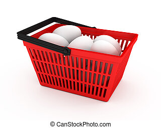 Shopping basket with eggs over white background